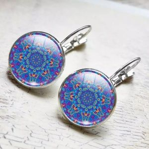 boho hippie gypsy zen hoop dangling earrings